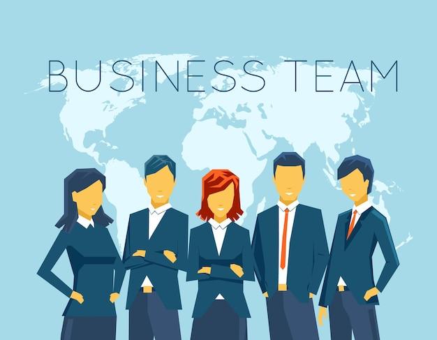 Geschäftsteam, personal. menschen und person, kommunikation, geschäftsfrau und geschäftsmann, besprechungsbüro. vektorillustration Kostenlosen Vektoren