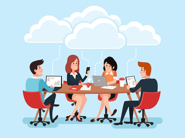 Geschäftsteam unter verwendung der laptops online am schreibtisch, geschäftsleute, die bürodokumente teilen Premium Vektoren