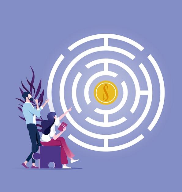 Geschäftsteam versuchen, geld im labyrinth zu erhalten Premium Vektoren