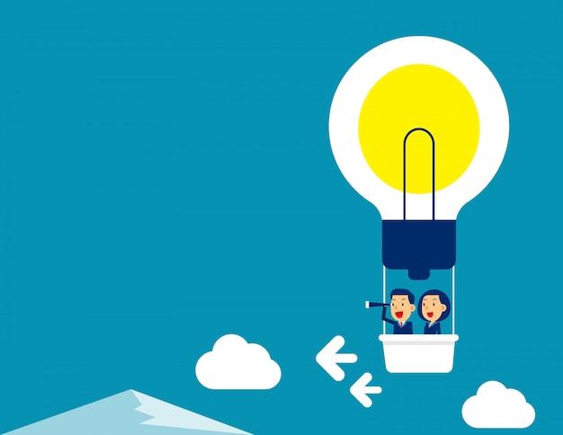 Geschäftsteamfliegen auf heißluftballon Premium Vektoren