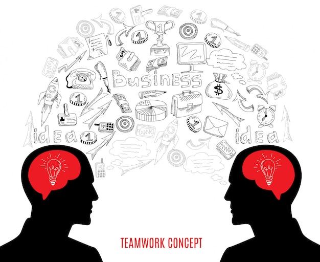 Geschäftsteamwork-konzeptikonen-zusammensetzungsillustration Kostenlosen Vektoren
