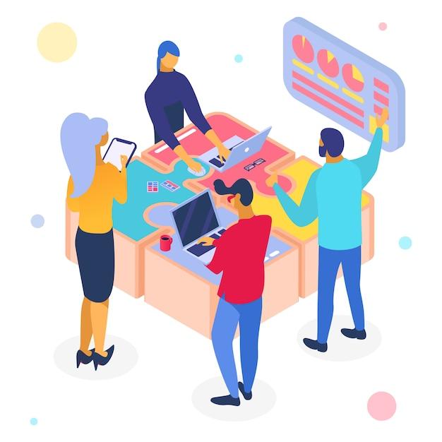 Geschäftsteamwork-puzzle, isometrische illustration. people team charakter arbeiten im web für den erfolg. lösung Premium Vektoren