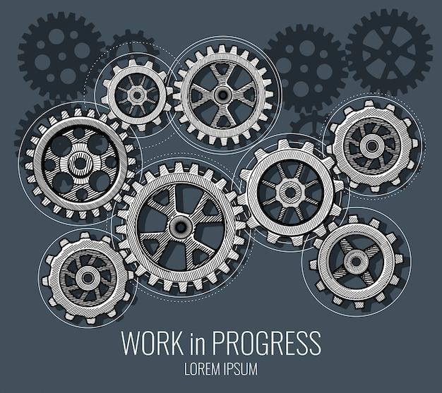 Geschäftsteamwork und kommunikationsvektorkonzept mit hand gezeichneten gängen Premium Vektoren