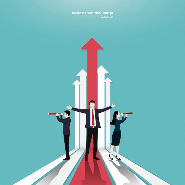 Geschäftsteamwork und pfeilkonzept Premium Vektoren