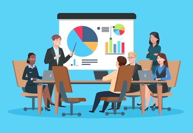 Geschäftstreffen. flache personen auf präsentationskonferenzillustration. geschäftsmann bei projektstrategie infografik. team seminar vektorkonzept Premium Vektoren