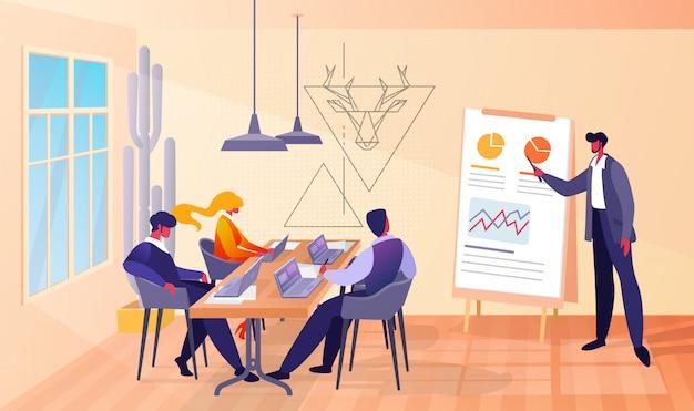 Geschäftstreffen im büro mit chef und mitarbeitern Premium Vektoren