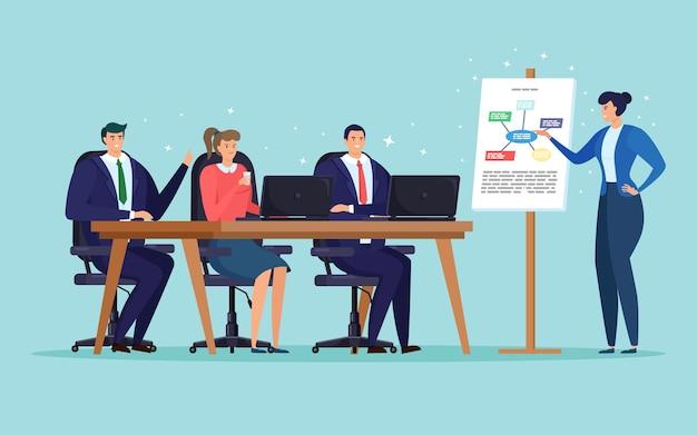 Geschäftstreffen, schulung für mitarbeiter. präsentation des lernkurses. gruppe von personen, die am tisch im konferenzraum sitzen Premium Vektoren