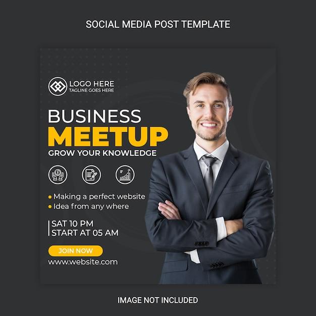 Geschäftstreffen social media post vorlage Premium Vektoren