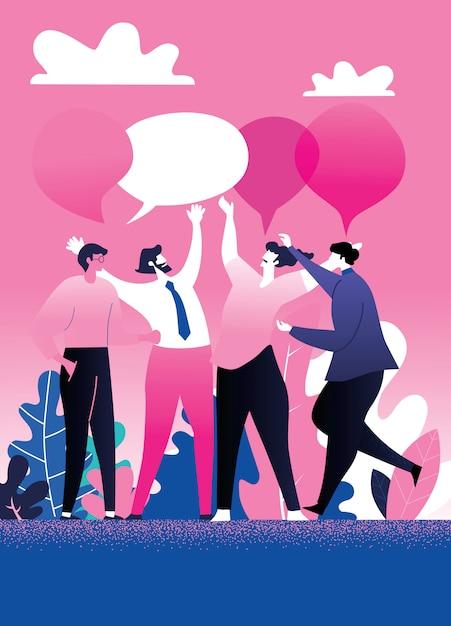 Geschäftstreffen und diskussion mit teamarbeit Premium Vektoren