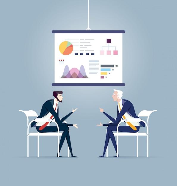 Geschäftstreffen und präsentationstafel. geschäftskonzept vektor Premium Vektoren