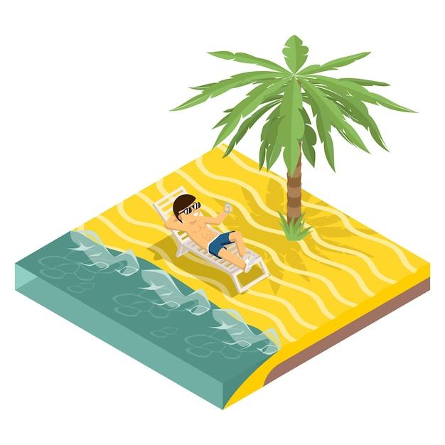 Geschäftsurlaub. geschäftsmann am strand unter palme in der isometrischen ansicht Kostenlosen Vektoren