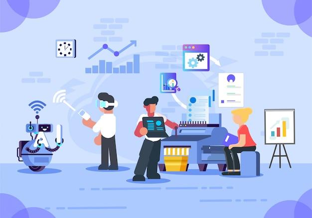 Geschäftsvektor intelligentes büro Premium Vektoren