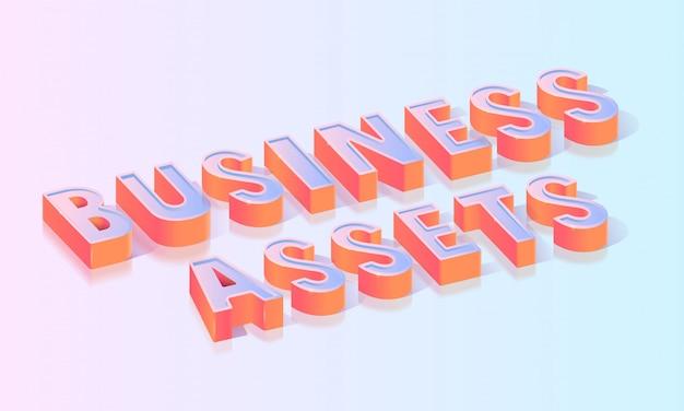 Geschäftsvermögenswert-titel-isometrische vektor-schablone Premium Vektoren