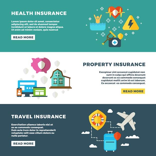 Geschäftsversicherung, bankdienstleistungen und sicherheitsfahnen eingestellt Premium Vektoren