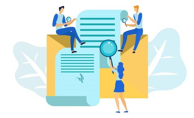 Geschäftsvertrag prüfen, dokumentenprüfung Premium Vektoren