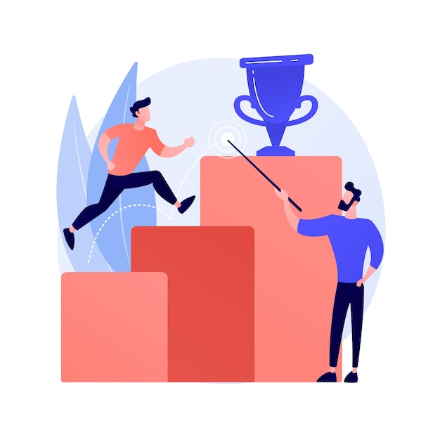 Geschäftsvision, vorhersage und prognose. überwachung von karrieremöglichkeiten. job, perspektiven suchen, strategieplanung. illustration des führungs- und motivationskonzepts Kostenlosen Vektoren