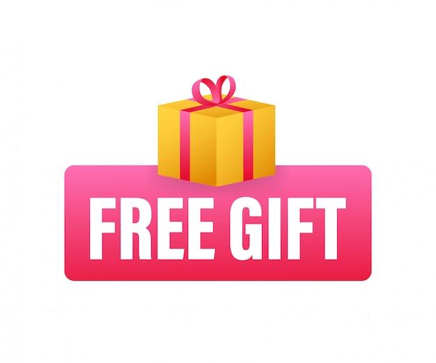 Geschäftsvorlage mit rotem geschenk auf weißem hintergrund für fahnenentwurf. geschäftsvorlage. geschenkbox-symbol präsentieren. Premium Vektoren