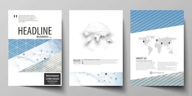Geschäftsvorlagen für broschüre, flyer, jahresbericht. Premium Vektoren