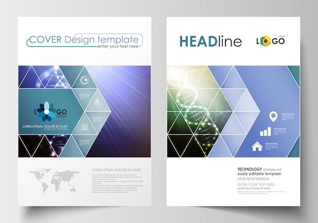Geschäftsvorlagen für broschüren, magazine, flyer, broschüren oder berichte Premium Vektoren