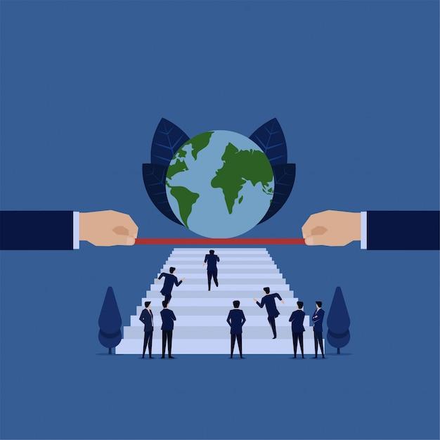 Geschäftswettbewerb laufen auf treppe zur weltkugelmetapher, um globalen erfolg zu erzielen. Premium Vektoren