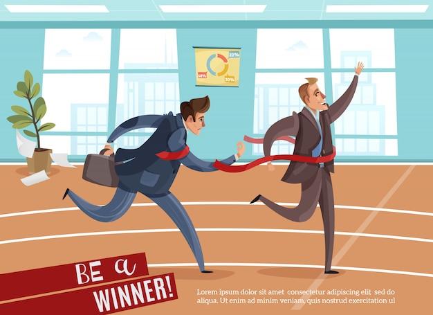 Geschäftswettbewerbs-siegerverlierer mit editierbarem text und innenansicht des büros mit athletischer bahn Kostenlosen Vektoren