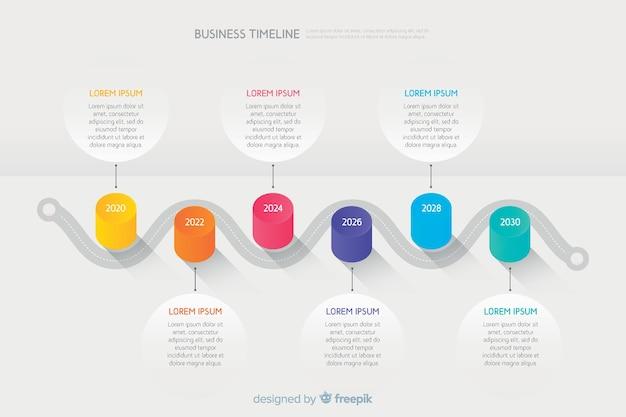 Geschäftszeitachse infographic mit textdaten Kostenlosen Vektoren