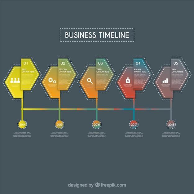 Geschäftszeitachse mit flachem design Kostenlosen Vektoren
