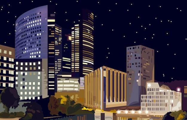 Geschäftszentrum bei nacht Premium Vektoren