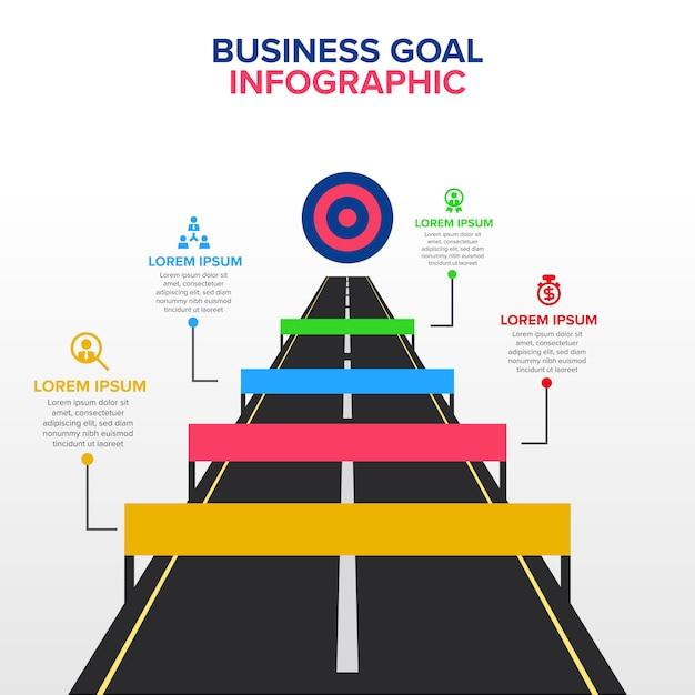 Geschäftsziel infographic-schablone mit hindernis Premium Vektoren