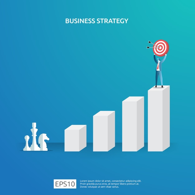 Geschäftszielerreichung, vision und planungskonzept für planungs- und managementfinanzierung. erfolgreiches management der gewinnstrategie für kapitalerträge mit schachfigur und dartscheibe zielillustration Premium Vektoren