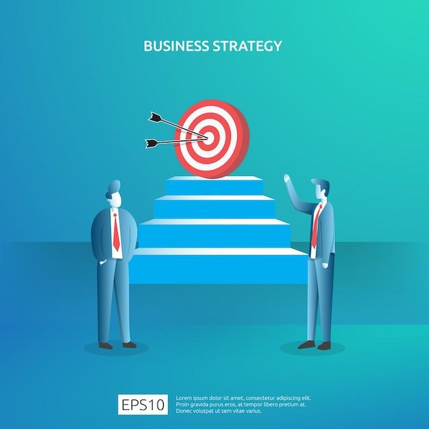 Geschäftszielerreichung, vision und planungskonzept für planungs- und managementfinanzierung. erfolgreiches management der gewinnstrategie für kapitalerträge Premium Vektoren