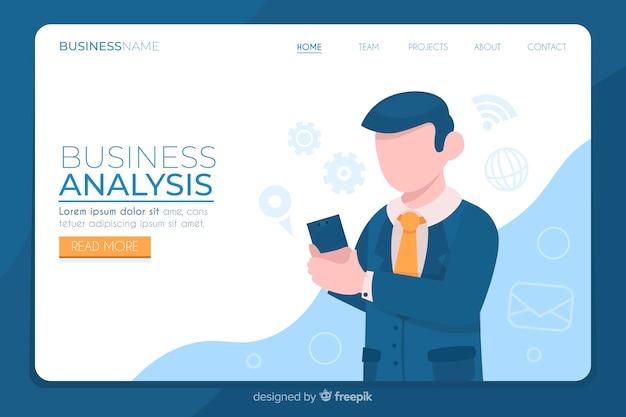 Geschäftszielseite mit analyse Kostenlosen Vektoren