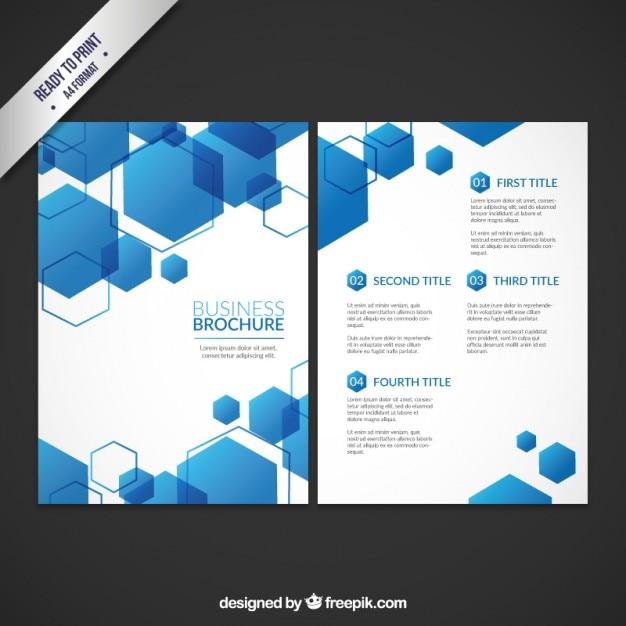 Geschäft Broschüre Vorlage mit blauen Sechsecken | Download der ...