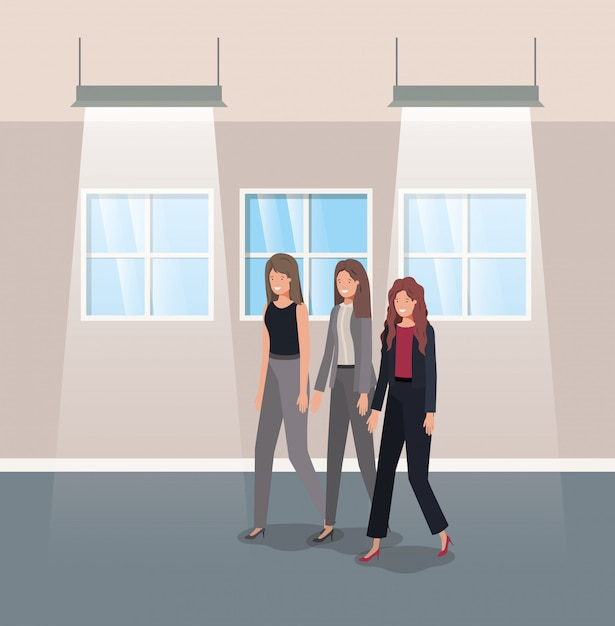 Geschäftsfrauengruppe im Korridorbüro Premium Vektoren