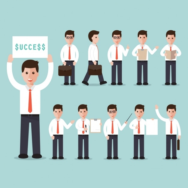 """Geschäftsmann mit einem Zeichen der """"Erfolg"""" Kostenlose Vektoren"""