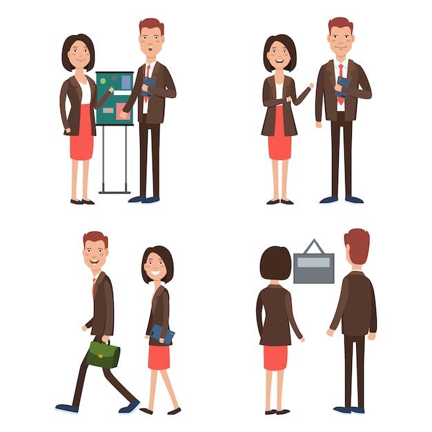 Geschäftsteam am Arbeitszeichensatz Kostenlose Vektoren