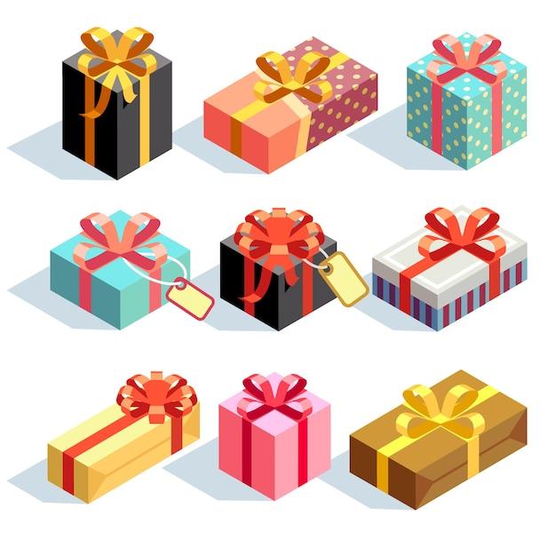 Geschenk-icons und geschenkboxen Premium Vektoren