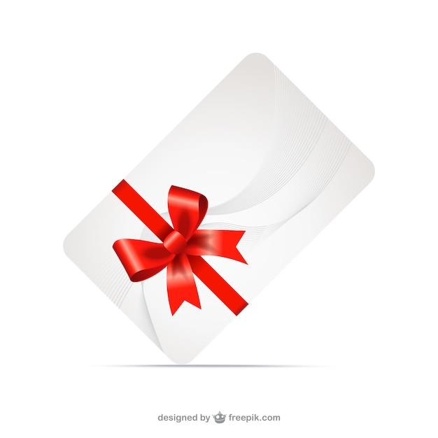 Geschenk-karte mit roter schleife Kostenlosen Vektoren