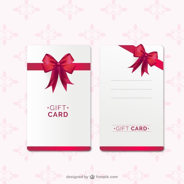 Geschenk-karte vorlage mit rotem band Kostenlosen Vektoren