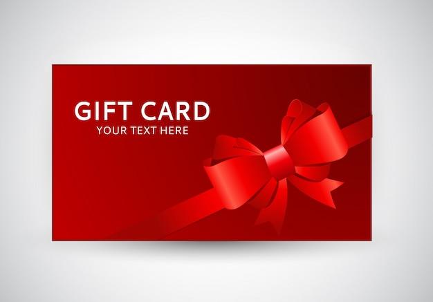 Geschenk-karten-schablone mit bogen und band Premium Vektoren