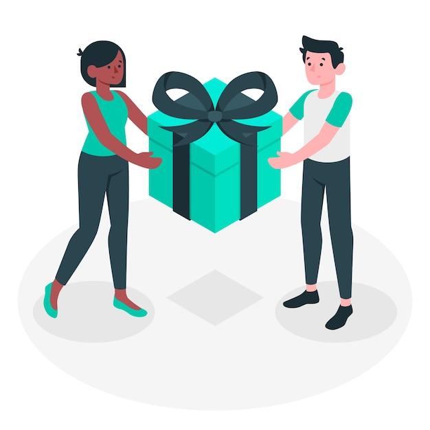 Geschenk konzept illustration Kostenlosen Vektoren