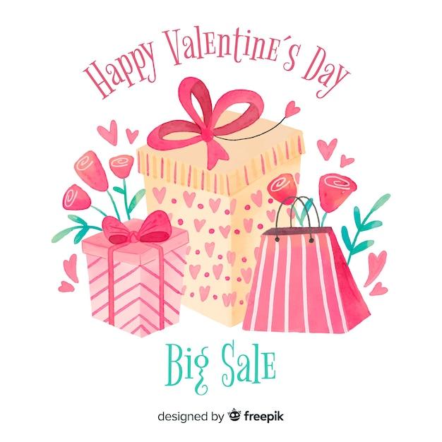 Geschenk und taschen-valentinsgrußverkaufshintergrund Kostenlosen Vektoren