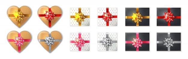 Geschenkbox eingestellt Premium Vektoren