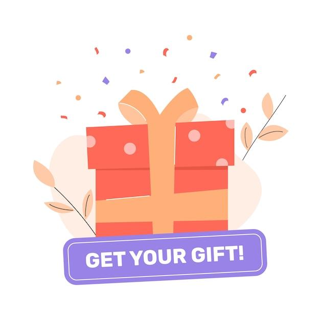 Geschenkbox mit schleife. knopf holen sie sich ihr geschenk. abzeichen für werbeaktionen und soziale netzwerke. boni, rabatte und belohnungen für kunden. Premium Vektoren