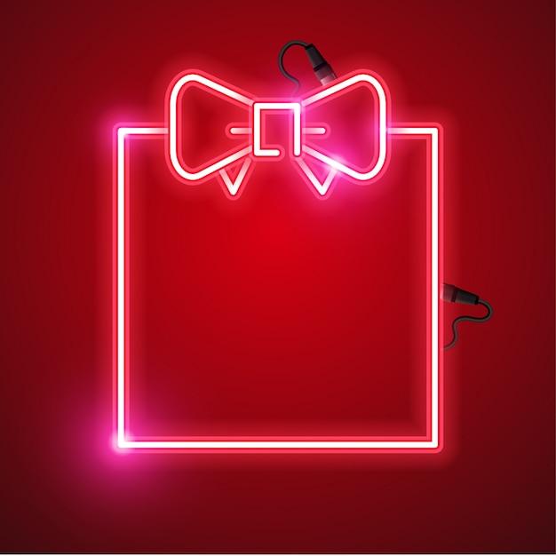 Geschenkbox neon banner design Premium Vektoren