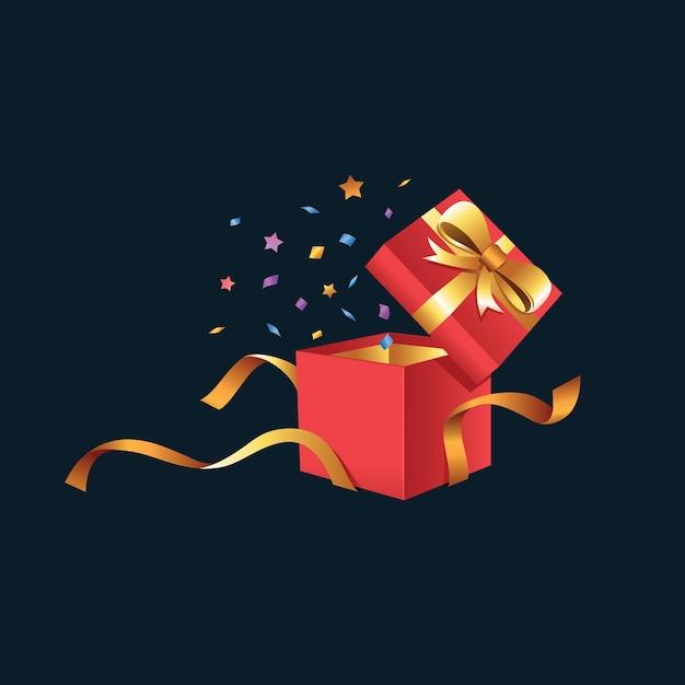 Geschenkbox unboxing p Premium Vektoren