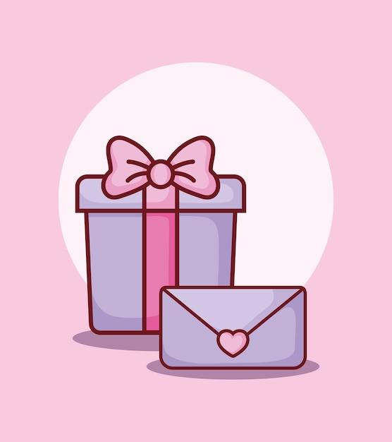 Geschenkbox und e-mail-nachricht online-dating Premium Vektoren