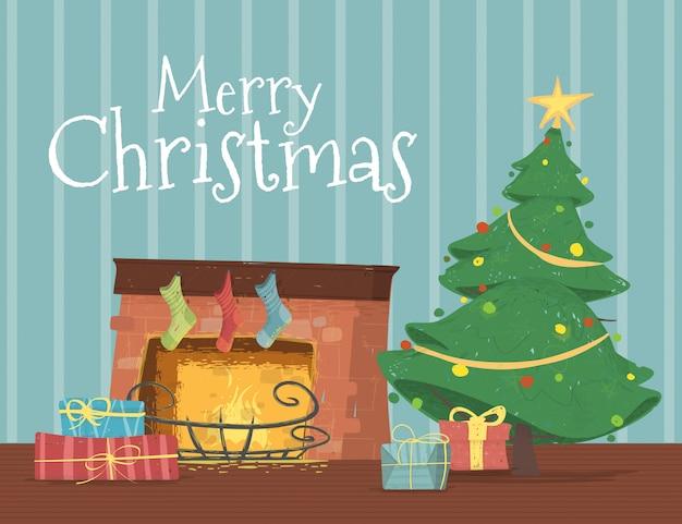 Geschenkboxen, die unter verziertem weihnachtsbaum liegen Premium Vektoren