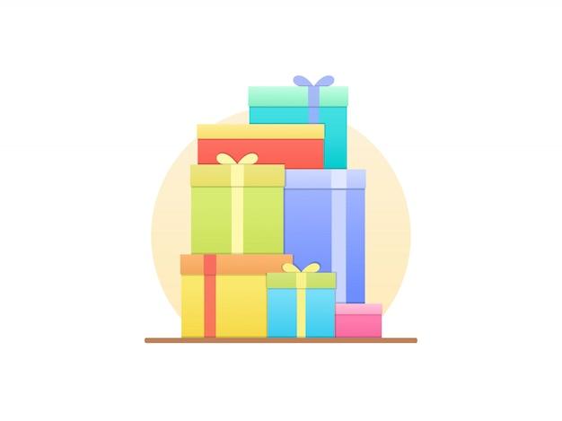 Geschenkboxen in flachen stil Premium Vektoren