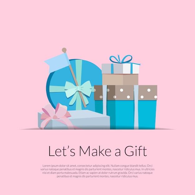 Geschenkboxen oder pakete stapeln in der tasche mit platz für text Premium Vektoren